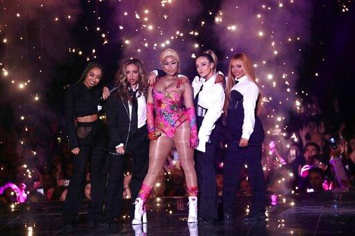 (Stuart C. Wilson/Pool via AP, File). FILE - In this Sunday, Nov. 4, 2018 file photo, Nicki Minaj performs on stage during the MTV EMA's 2018 at Bilbao Exhibition Centre in Bilbao, Spain. Saudi Arabia said Wednesday July 3, 2019 American hip-hop star N...