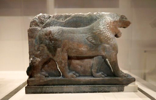 (AP Photo/Natasha Livingstone). A 3D printed recreation of the ancient Lion of Mosul, which was destroyed by the Islamic State group at the Mosul Museum in Iraq, is displayed as part of the 'What Remains' exhibition at the Imperial War Museum in London...