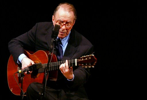 (AP Photo/Mary Altaffer, File). FILE - In this June 18, 2004 file photo, Brazilian composer Joao Gilberto performs at Carnegie Hall, in New York. The Brazilian singer and composer, who is considered one of the fathers of the Bossa Nova genre, has died....
