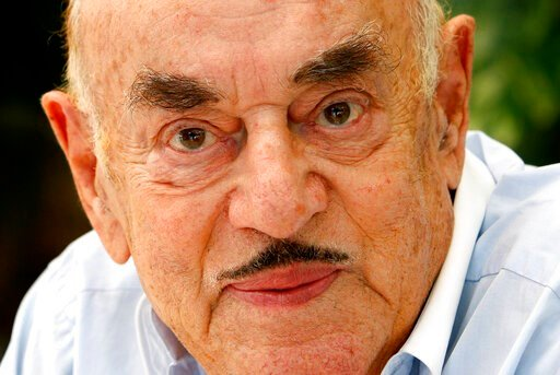 (AP Photo/Franka Bruns, File). FILE - In this Monday, July 28, 2008 file photo, Artur Brauner, a Polish-born Holocaust survivor who became one of Germany's most prominent post-World War II film producers, poses for a portrait in Berlin. German news age...