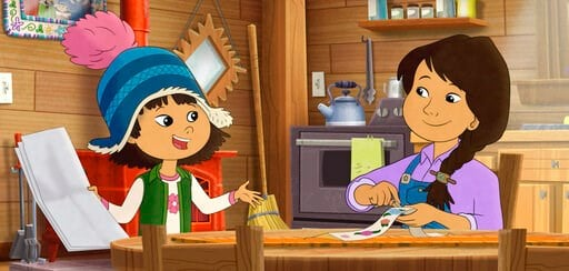 """(PBS via AP). This image released by PBS shows characters Molly, voiced by Sovereign Bill, left, and her mother, voiced by Jules Koostachin in a scene from the animated series """"Molly of Denali."""" The animated show, which highlights the adventures of a 1..."""