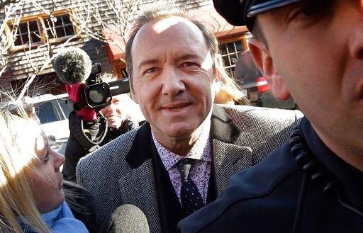 (AP Photo/Steven Senne). FILE - In this Jan. 7, 2019 file photo, actor Kevin Spacey arrives at district court in Nantucket, Mass. A young man who says Kevin Spacey groped him in a Nantucket bar in 2016 has dropped his lawsuit against the Oscar-winning ...