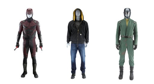 """(Marvel Entertainment via AP). This combination of photos released by Marvel Entertainment shows costumes from Marvel characters, from left, Matt Murdock's costume from """"Marvel's Daredevil,"""" Luke Cage's Bullet-Riddled Costume from """"Marvel's Luke Cage"""" ..."""