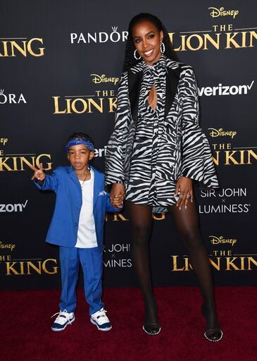 """(Photo by Jordan Strauss/Invision/AP). Kelly Rowland and her son Titan arrive at the world premiere of """"The Lion King"""" on Tuesday, July 9, 2019, at the Dolby Theatre in Los Angeles."""