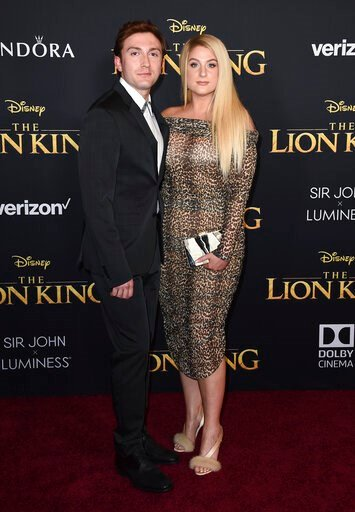 """(Photo by Jordan Strauss/Invision/AP). Meghan Trainor, right, and Daryl Sabara arrive at the world premiere of """"The Lion King"""" on Tuesday, July 9, 2019, at the Dolby Theatre in Los Angeles."""