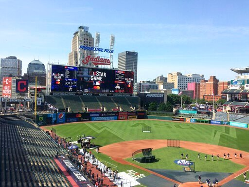 (AP Photo/Ben Walker). Stadium workers prepare Progressive Field for the Major League Baseball All-Star Game in Cleveland Tuesday, July 9, 2019. The biggest misplay of the night game might have been on the scoreboard. NL All-Stars David Dahl of Colorad...