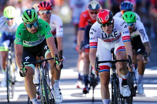 (AP Photo/Thibault Camus). Norway's Alexander Kristoff, right, and Slovakia's Peter Sagan sprint to the finish line at the end of the fourth stage of the Tour de France cycling race over 214 kilometers (133 miles) with start in Reims and finish in Nanc...