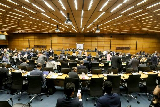 (AP Photo/Ronald Zak). General view of the board of governors meeting of the International Atomic Energy Agency, IAEA, at the International Center in Vienna, Austria, Wednesday, July 10, 2019.