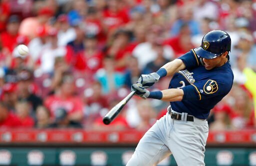 (AP Photo/Gary Landers, File). FILE - In this July 2, 2019, file photo, Milwaukee Brewers' Christian Yelich hits a solo home run off Cincinnati Reds starting pitcher Tanner Roark during the fourth inning of a baseball game in Cincinnati. Josh Bell and ...