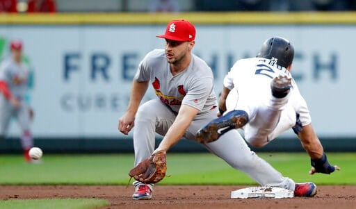 (AP Photo/Elaine Thompson). St. Louis Cardinals shortstop Paul DeJong, left, reaches for the ball before tagging out Seattle Mariners' Dylan Moore at second on a stolen-base attempt during the second inning of a baseball game Wednesday, July 3, 2019, i...