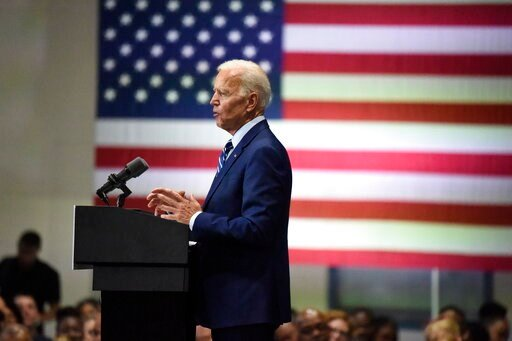 (AP Photo/Meg Kinnard). Democratic presidential candidate and former vice president Joe Biden speaks at a campaign event in Sumter, S.C, on Saturday, July 6, 2019.