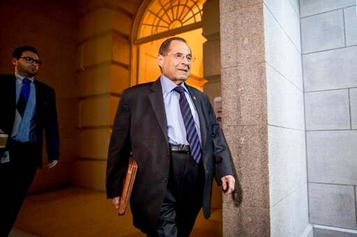 (AP Photo/Andrew Harnik). Judiciary Committee Chairman Jerrold Nadler, D-N.Y., arrives for a House Democratic caucus meeting on Capitol Hill in Washington, Wednesday, July 10, 2019.