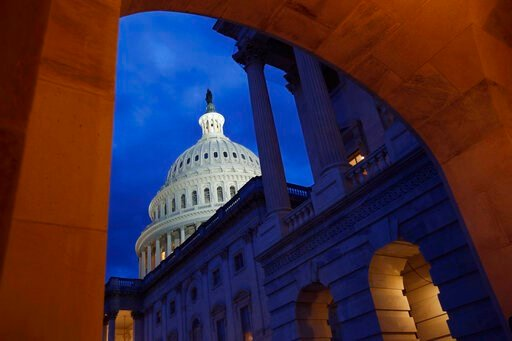 (AP Photo/Patrick Semansky, File). FILE - This June 12, 2019, file photo shows the U.S. Capitol dome on Capitol Hill in Washington. On Thursday, July 11, the Treasury Department releases federal budget data for June.