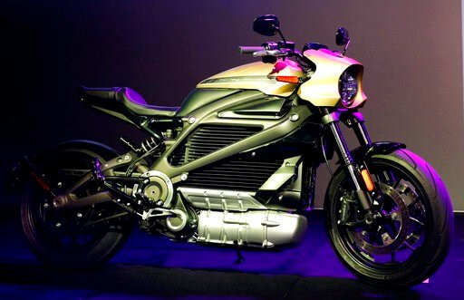 (AP Photo/John Locher, File). FILE - In this Jan. 7, 2019, file photo a Harley-Davidson Motorcycles LiveWire electric motorcycle is on display during a Panasonic news conference at CES International in Las Vegas. Harley Davidson is hoping to appeal to ...