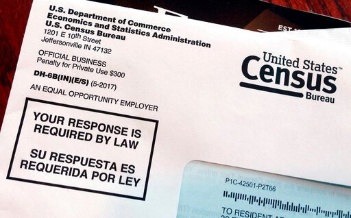 (AP Photo/Michelle R. Smith, File). FILE - This March 23, 2018, file photo shows an envelope containing a 2018 census letter mailed to a U.S. resident as part of the nation's only test run of the 2020 Census. Legal wrangling has surrounded the U.S. cen...