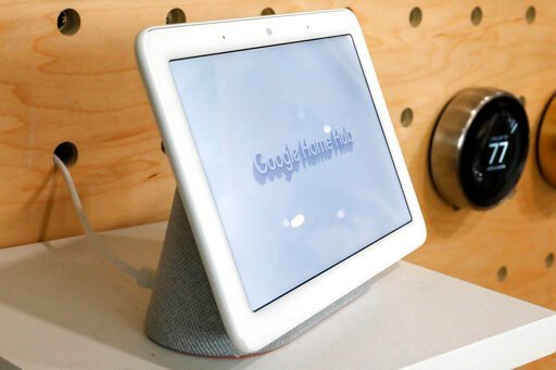 (AP Photo/Richard Drew, File). FILE - In this Oct. 9, 2018, file photo a Google Home Hub is displayed in New York. Google contractors are listening to some recordings of people talking to Assistant, either on their phone or through smart speakers such ...