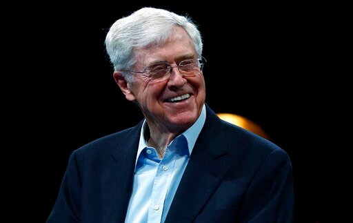 (AP Photo/David Zalubowski, File). FILE - This June 29, 2019, file photo show Charles Koch, chief executive officer of Koch Industries, at The Broadmoor Resort in Colorado Springs, Colo. Billionaire industrialist Charles Koch's powerful network that's ...