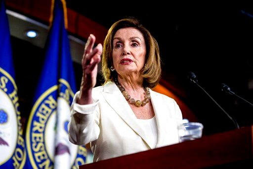 (AP Photo/Andrew Harnik). House Speaker Nancy Pelosi of Calif. meets with reporters on Capitol Hill in Washington, Thursday, July 11, 2019.