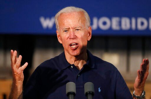 (AP Photo/Robert F. Bukaty). Former Vice President and Democratic presidential candidate Joe Biden, speaks at a campaign stop, Saturday, July 13, 2019, in Londonderry, N.H.