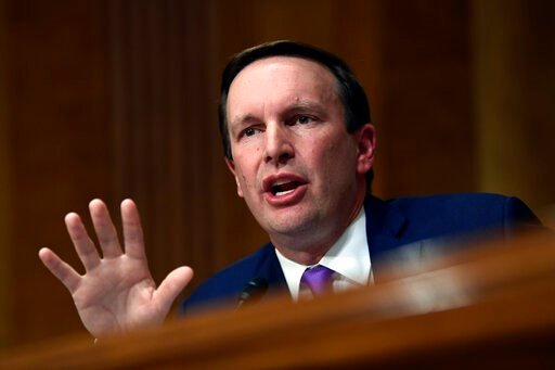 (AP Photo/Susan Walsh, File). FILE - In this July 25, 2018, file photo, Sen. Christopher Murphy, D-Conn., questions Secretary of State Mike Pompeo as he testifies before the Senate Foreign Relations Committee on Capitol Hill in Washington. One of Washi...