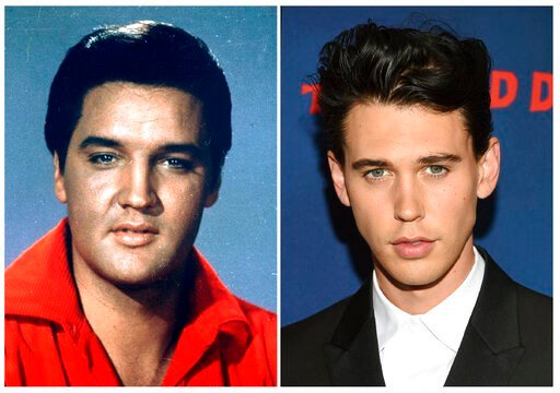 """(AP Photo). This combination photo shows singer-actor Elvis Presley in a 1964 photo, left, and actor Austin Butler at the premiere of """"The Dead Don't Die"""" in New York on June 10, 2019. Butler has been cast to portray Presley in the upcoming biopic by d..."""