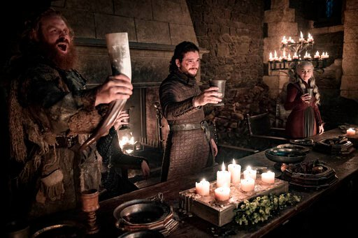 "(Helen Sloan/HBO via AP). This image released by HBO shows Kristofer Hivju, from left, Kit Harington and Emilia Clarke in a scene from ""Game of Thrones.""  ""Game of Thrones,"" ""Veep"" and ""The Big Bang Theory,"" three major series that wrapped last season,..."