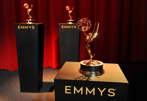 (Photo by Richard Shotwell/Invision/AP). Emmy statuettes appear on stage prior to the start of the 71st Primetime Emmy Nominations Announcements at the Television Academy's Saban Media Center on Tuesday, July 16, 2019, in Los Angeles.