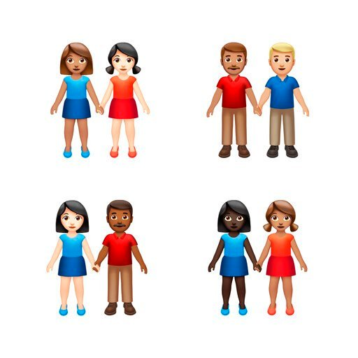(Apple via AP). This image provided by Apple shows new emoji's released by Apple.  Both Apple and Google are rolling out dozens of new emojis that, as usual, included cute crittters, but also ones that expand the boundaries of inclusion. The announceme...