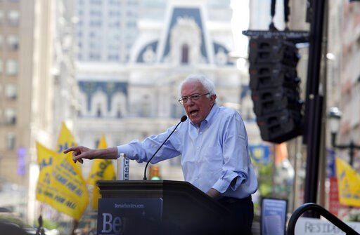 (AP Photo/Jacqueline Larma). Democratic presidential candidate Bernie Sanders, I-Vt., delivers remarks at a rally alongside unions, hospital workers and community members against the closure of Hahnemann University Hospital in Philadelphia, Monday July...