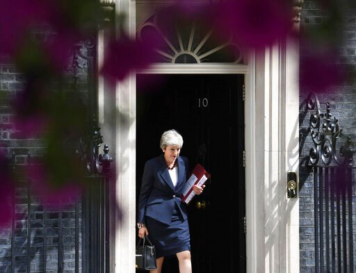 (Stefan Rousseau/PA via AP). Britain's Prime Minister Theresa May leaves 10 Downing Street, for the House of Commons to attend Prime Minister's Questions, in London, Wednesday July 17, 2019.