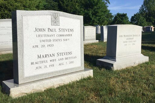(AP Photo/Jessica Gresko). The headstone for retired Supreme Court Justice John Paul Stevens is seen, Wednesday, July 17, 2019 at Arlington National Cemetery in Arlington, VA. Arlington National Cemetery has known for years that it would be the final r...