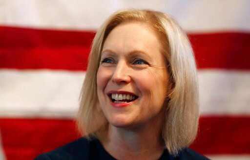 (AP Photo/Carlos Osorio, File). FILE - In this July 12, 2019, file photo, Democratic presidential candidate Sen. Kirsten Gillibrand, D-N.Y., speaks at a town hall meeting during a campaign stop in Bloomfield Hills, Mich. Plagued by anemic polling and f...