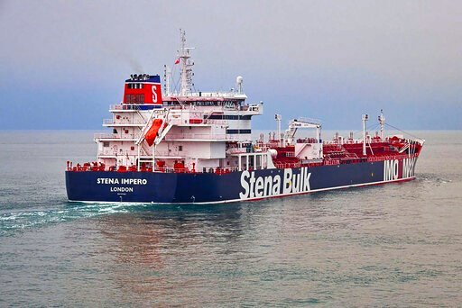 (Stena Bulk via AP). In this undated photo issued Friday July 19, 2019, by Stena Bulk, showing the British oil tanker Stena Impero at unknown location, which is believed to have been captured by Iran.  Iran's Revolutionary Guard announced on their webs...