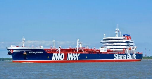 (Basil M. Karatzas, Karatzas Images via AP). In this May 5, 2019 photo issued by Karatzas Images, showing the British oil tanker Stena Impero at unknown location, which is believed to have been captured by Iran. Iran's Revolutionary Guard announced on ...