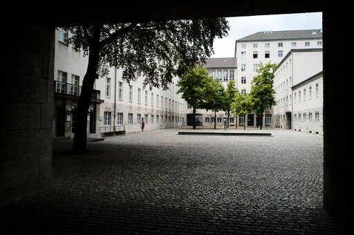 (AP Photo/Markus Schreiber). RETRANSMISSION TO CLARIFY SECOND SENTENCE - In this Friday, July 12, 2019 photo general view inside the courtyard of the Bendlerblock building of the German defensive ministry where the German Resistance Memorial Center is ...