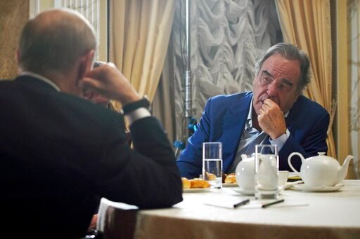 (Alexei Druzhinin, Sputnik, Kremlin Pool Photo via AP). This photo taken on Wednesday, June 19, 2019, and distributed by Kremlin Press Service shows Russian President Vladimir Putin during an interview with American movie director Oliver Stone for his ...