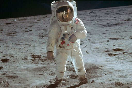 (Neil Armstrong/NASA via AP). In this July 20, 1969 photo made available by NASA, astronaut Buzz Aldrin, lunar module pilot, walks on the surface of the moon during the Apollo 11 extravehicular activity.