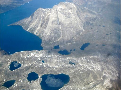 (AP Photo/Keith Virgo). In this image taken on June 22, 2019 an aerial view of melt water lakes on the edge of an ice cap in Nunatarssuk, Greenland. Milder weather than normal since the start of summer, led to the UN's weather agency voicing concern th...