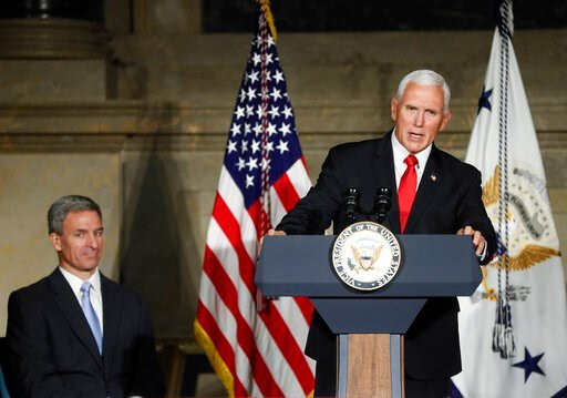 (AP Photo/Pablo Martinez Monsivais). FILE - In this July 4, 2019 photo, Vice President Mike Pence speaks at a naturalization ceremony for new naturalized citizens in celebration of Independence Day at the National Archives in Washington. Trump administ...