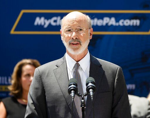 (AP Photo/Matt Rourke, File). FILE - In a Friday, June 28, 2019 file photo, Pennsylvania Gov. Tom Wolf speaks during a news conference in Harrisburg, Pa. Wilf says four children in his state were recently separated from their parents by U.S. Immigratio...
