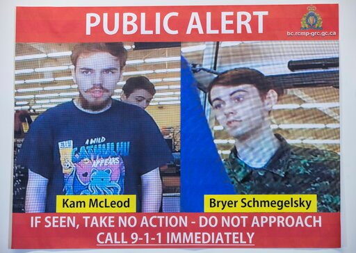 (Darryl Dyck/The Canadian Press via AP File). In this July 23, 2019 file photo, security camera images of fugitives Kam McLeod, 19, and Bryer Schmegelsky, 18, are displayed during a news conference in Surrey, British Columbia.  Police said Wednesday, A...