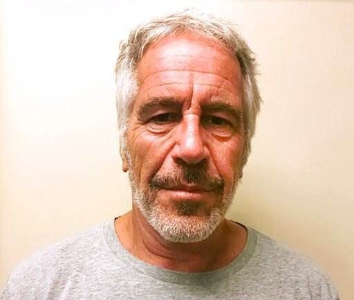 (New York State Sex Offender Registry via AP, File). FILE - This March 28, 2017, file photo, provided by the New York State Sex Offender Registry shows Jeffrey Epstein.  Epstein has died by suicide while awaiting trial on sex-trafficking charges, says ...