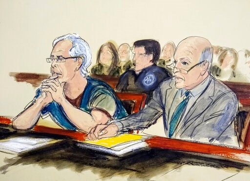 (Elizabeth Williams via AP, File). FILE - In this July 15, 2019 courtroom artist's sketch, defendant Jeffrey Epstein, left, and his attorney Martin Weinberg listen during a bail hearing in federal court, in New York. Officials say the FBI and U.S. Insp...