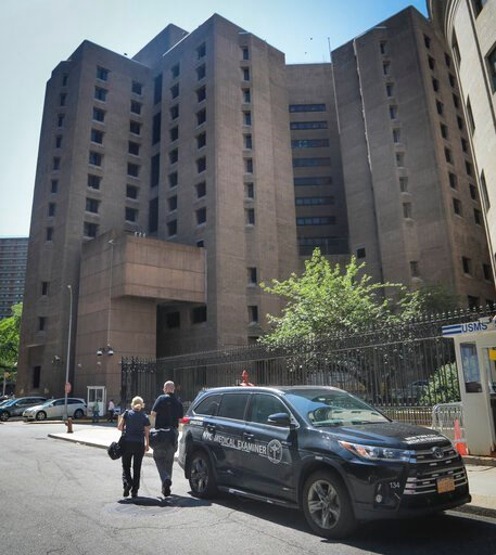 (AP Photo/Bebeto Matthews). New York City medical examiner personnel leave their vehicle and walk to the Manhattan Correctional Center where financier Jeffrey Epstein died by suicide while awaiting trial on sex-trafficking charges, Saturday Aug. 10, 20...