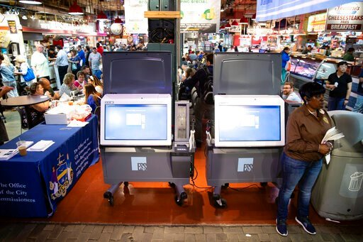 (AP Photo/Matt Rourke, File). FILE - In this June 13, 2019, file photo, ExpressVote XL voting machines are displayed during a demonstration at the Reading Terminal Market in Philadelphia. More than one in ten voters could vote on paperless voting machi...