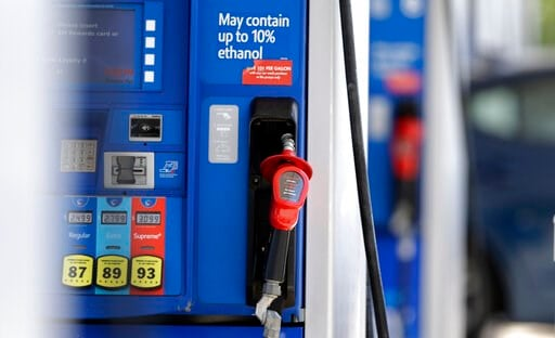 (AP Photo/Gerry Broome, File). FILE - This June 26, 2019, file photo shows a gasoline pump at a refueling station in Pittsboro, N.C. On Tuesday, Aug. 13, the Labor Department reports on U.S. consumer prices for July.