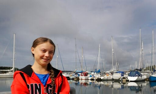 (AP Photo/Kirsty Wigglesworth). Greta Thunberg poses for a picture in the Marina where the boat Malizia is moored in Plymouth, England Tuesday, Aug. 13, 2019. Greta Thunberg, the 16-year-old climate change activist who has inspired student protests aro...