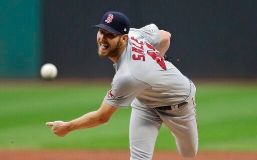 (AP Photo/Tony Dejak). Boston Red Sox starting pitcher Chris Sale delivers in the first inning of the team's baseball game against the Cleveland Indians, Tuesday, Aug. 13, 2019, in Cleveland.