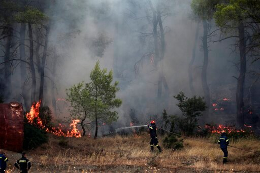 (AP Photo/Yorgos Karahalis). Firefighters try to extinguish a wildfire in Makrymalli village on the Greek island of Evia, Wednesday, Aug. 14, 2019. Water-dropping planes and helicopters have resumed work at first light over a major wildfire burning thr...