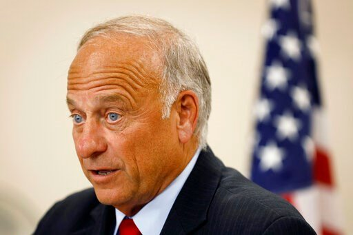 "(AP Photo/Charlie Neibergall). U.S. Rep. Steve King, R-Iowa, speaks during a town hall meeting, Tuesday, Aug. 13, 2019, in Boone, Iowa. King is defending his call for a ban on all abortions by questioning whether ""there would be any population of the w..."